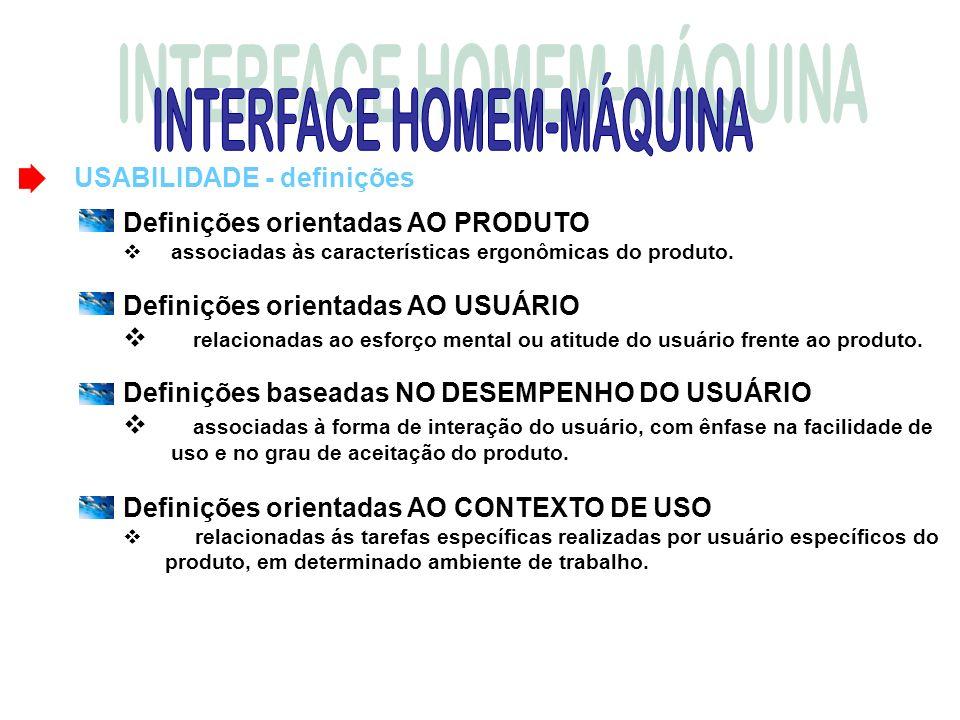 USABILIDADE - definições Definições orientadas AO PRODUTO associadas às características ergonômicas do produto. Definições orientadas AO USUÁRIO relac
