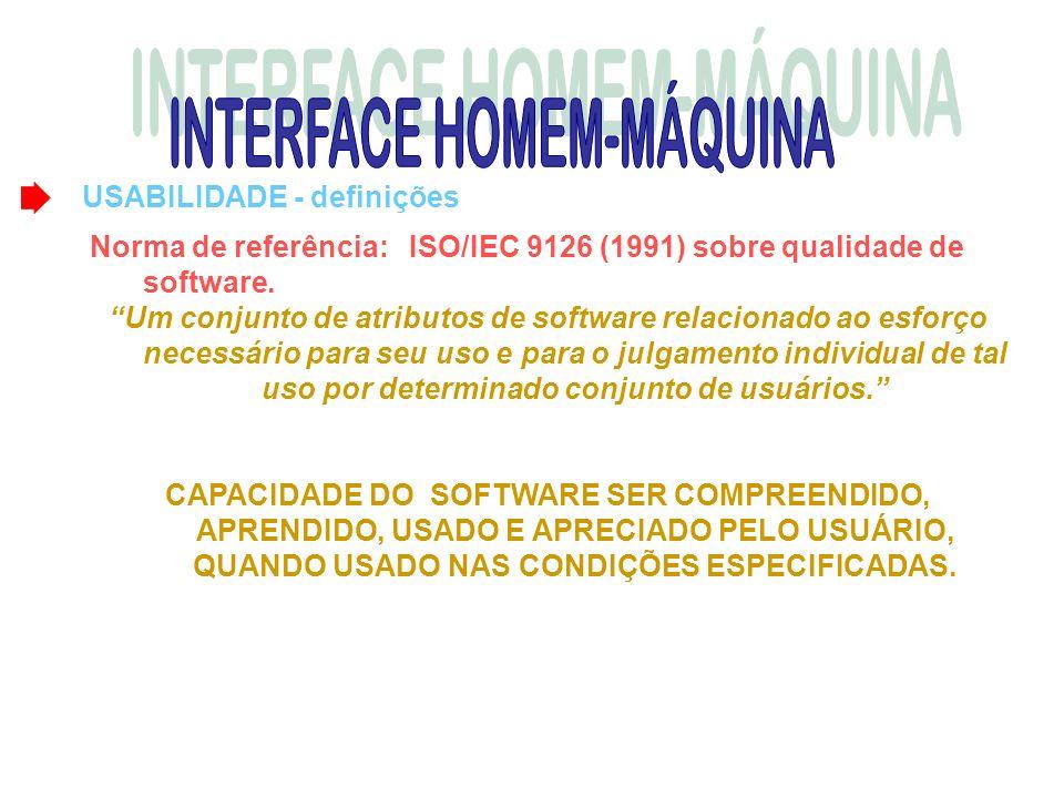 USABILIDADE - definições Norma de referência: ISO/IEC 9126 (1991) sobre qualidade de software. Um conjunto de atributos de software relacionado ao esf