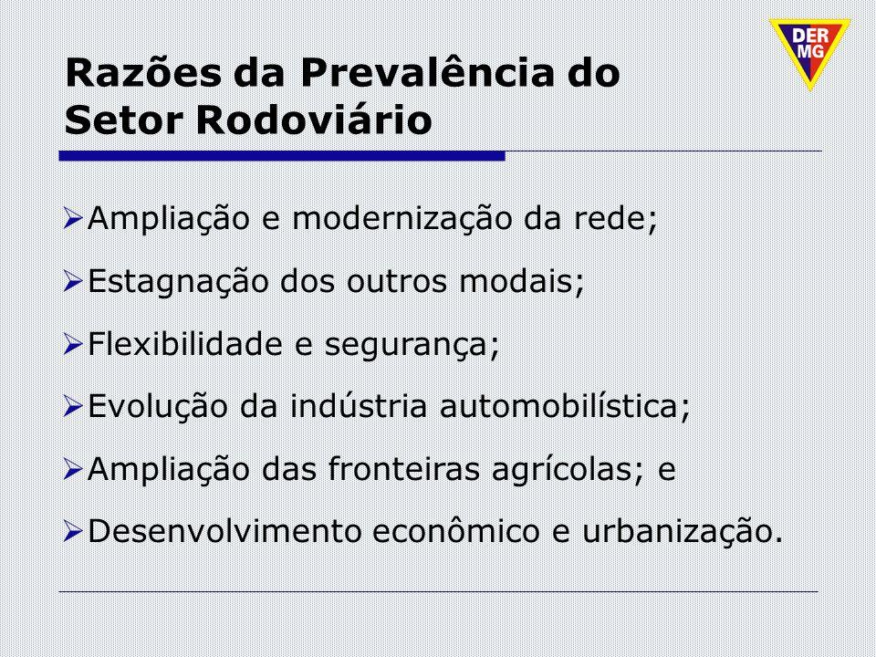 Razões da Prevalência do Setor Rodoviário Ampliação e modernização da rede; Estagnação dos outros modais; Flexibilidade e segurança; Evolução da indús