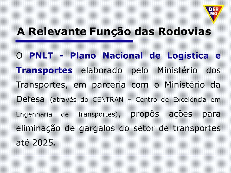 A Relevante Função das Rodovias O PNLT - Plano Nacional de Logística e Transportes elaborado pelo Ministério dos Transportes, em parceria com o Minist