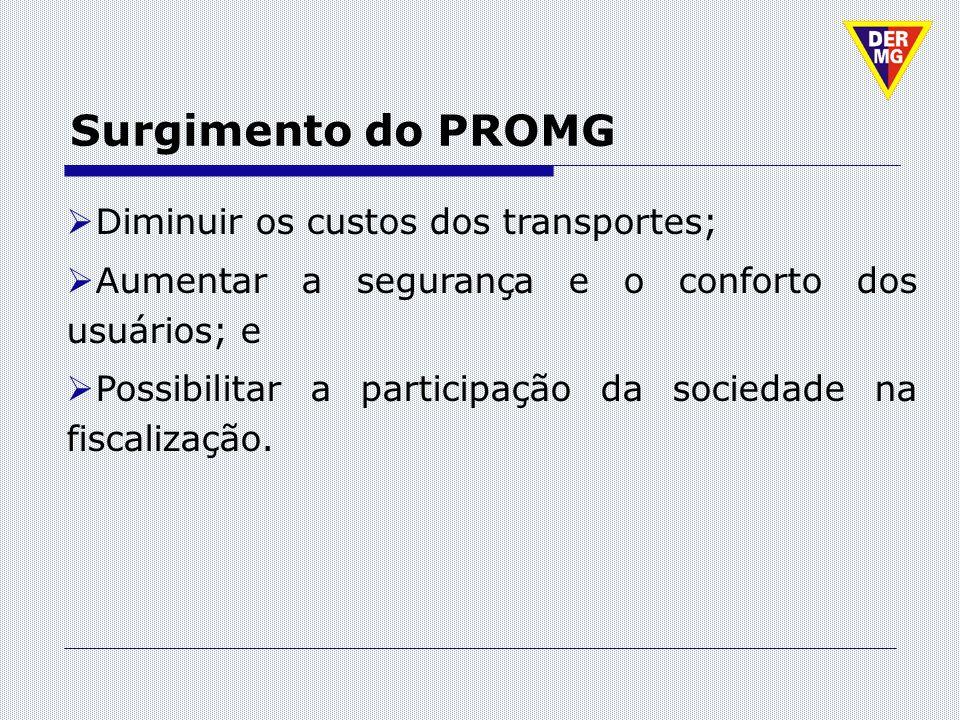 Surgimento do PROMG Diminuir os custos dos transportes; Aumentar a segurança e o conforto dos usuários; e Possibilitar a participação da sociedade na
