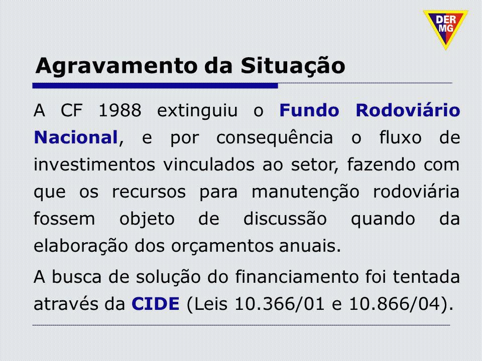 Agravamento da Situação A CF 1988 extinguiu o Fundo Rodoviário Nacional, e por consequência o fluxo de investimentos vinculados ao setor, fazendo com