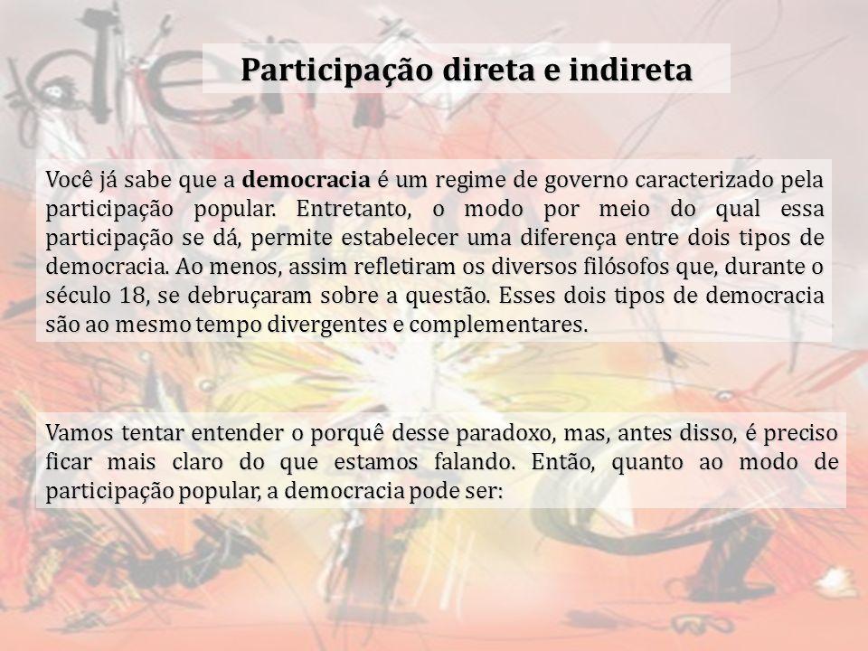 Participação direta e indireta Você já sabe que a democracia é um regime de governo caracterizado pela participação popular. Entretanto, o modo por me