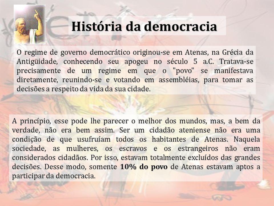 História da democracia O regime de governo democrático originou-se em Atenas, na Grécia da Antigüidade, conhecendo seu apogeu no século 5 a.C. Tratava