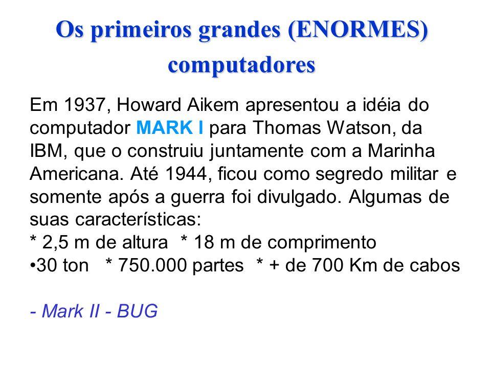 Os primeiros grandes (ENORMES) computadores Em 1937, Howard Aikem apresentou a idéia do computador MARK I para Thomas Watson, da IBM, que o construiu juntamente com a Marinha Americana.