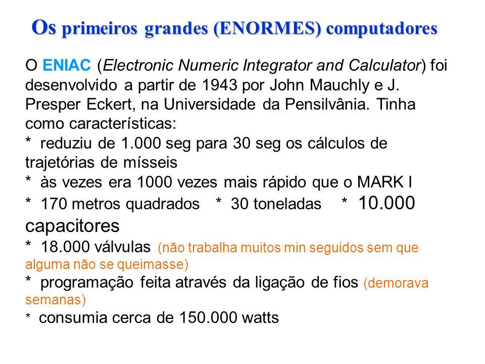 O ENIAC (Electronic Numeric Integrator and Calculator) foi desenvolvido a partir de 1943 por John Mauchly e J.