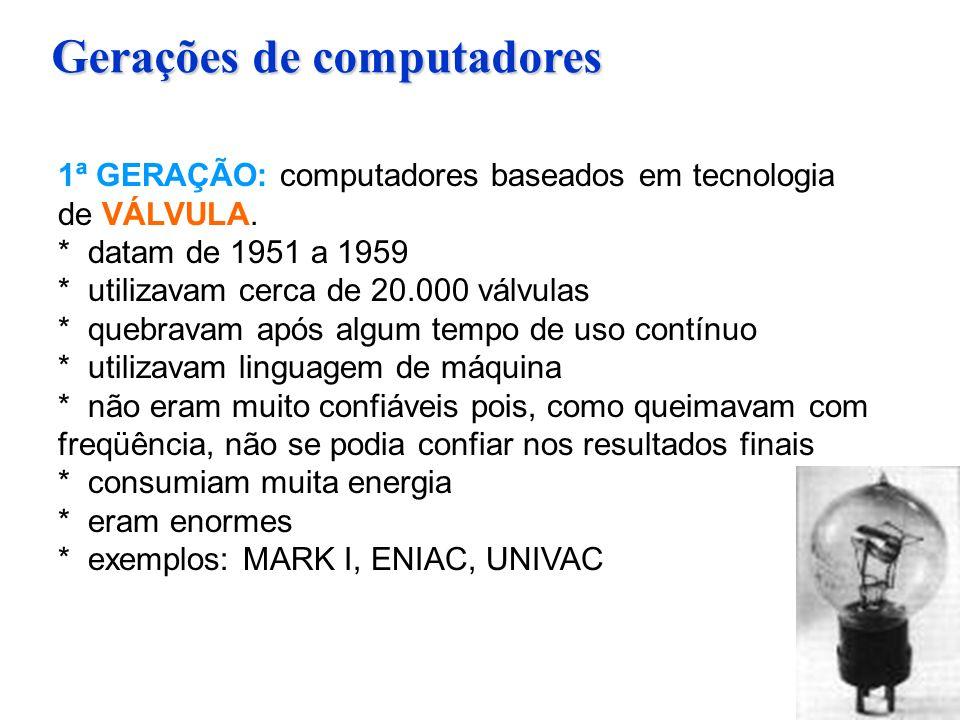 Gerações de computadores 1ª GERAÇÃO: computadores baseados em tecnologia de VÁLVULA. * datam de 1951 a 1959 * utilizavam cerca de 20.000 válvulas * qu