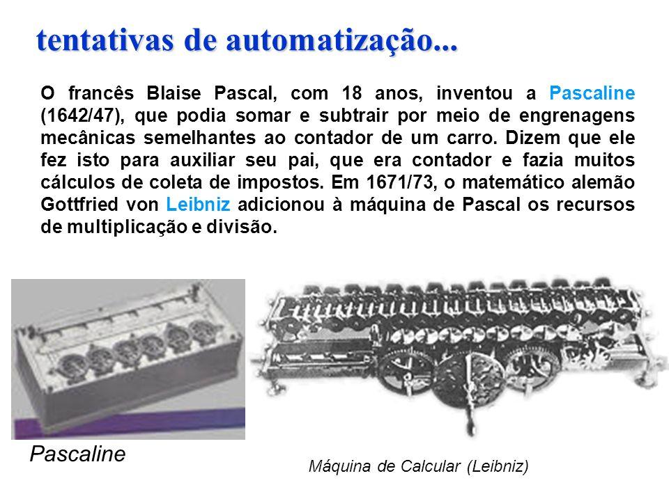 tentativas de automatização... O francês Blaise Pascal, com 18 anos, inventou a Pascaline (1642/47), que podia somar e subtrair por meio de engrenagen