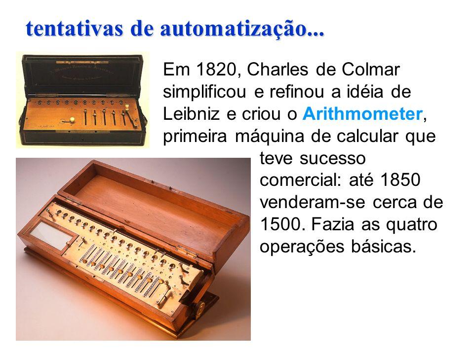 Em 1820, Charles de Colmar simplificou e refinou a idéia de Leibniz e criou o Arithmometer, primeira máquina de calcular que teve sucesso comercial: a
