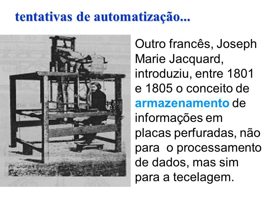 Outro francês, Joseph Marie Jacquard, introduziu, entre 1801 e 1805 o conceito de armazenamento de informações em placas perfuradas, não para o proces