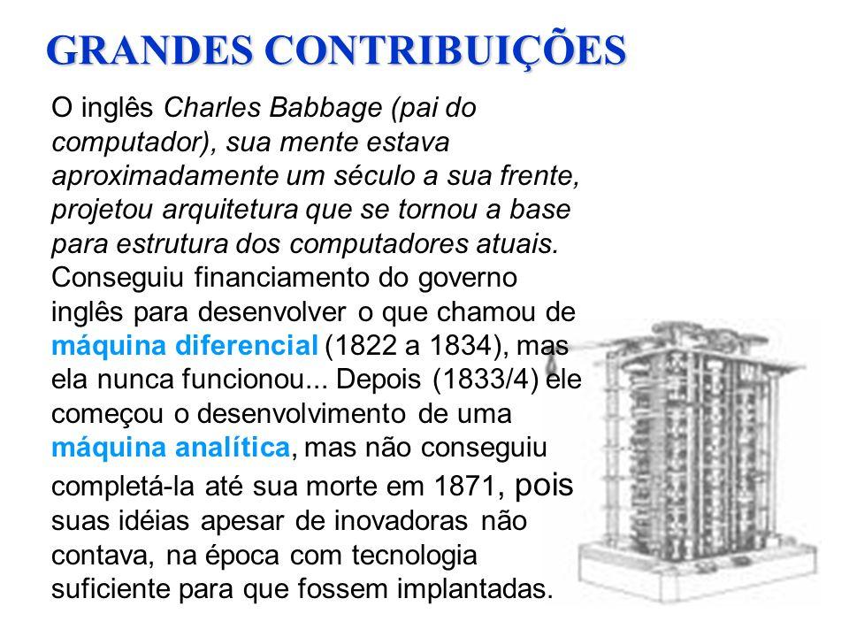 GRANDES CONTRIBUIÇÕES O inglês Charles Babbage (pai do computador), sua mente estava aproximadamente um século a sua frente, projetou arquitetura que se tornou a base para estrutura dos computadores atuais.