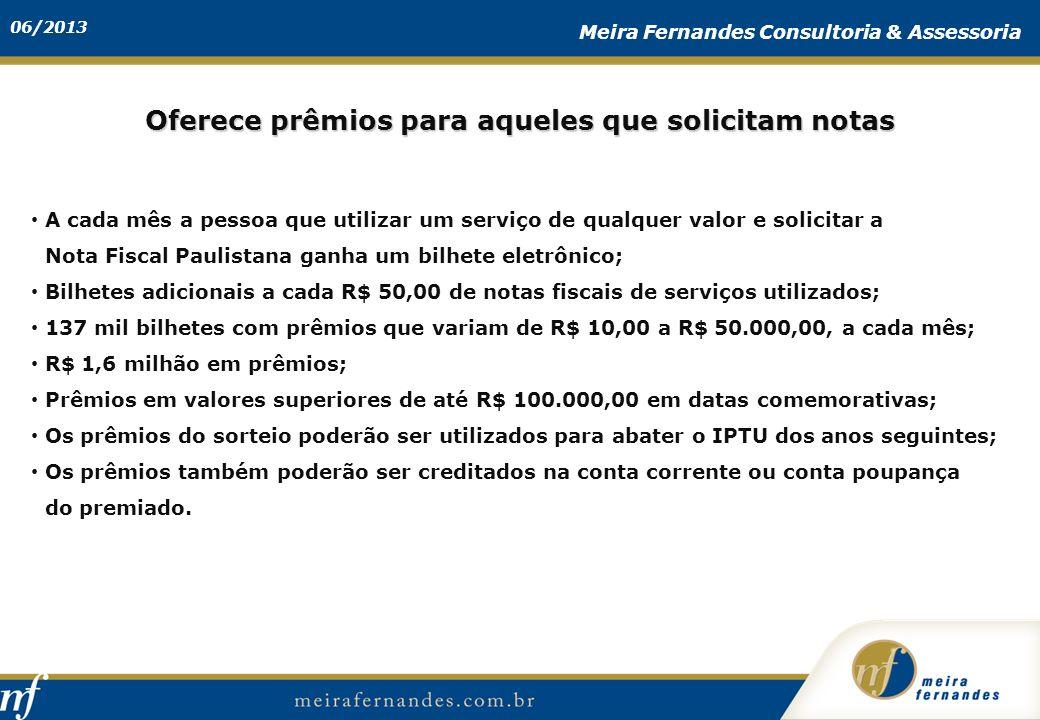 06/2013 Meira Fernandes Consultoria & Assessoria A cada mês a pessoa que utilizar um serviço de qualquer valor e solicitar a Nota Fiscal Paulistana ga