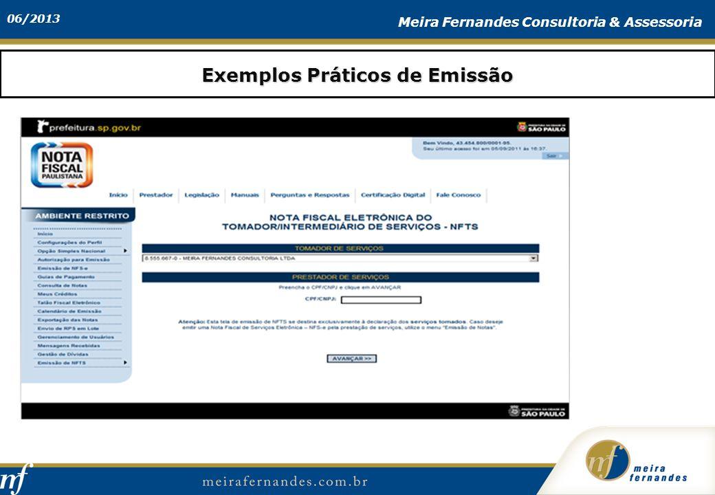 06/2013 Meira Fernandes Consultoria & Assessoria Exemplos Práticos de Emissão