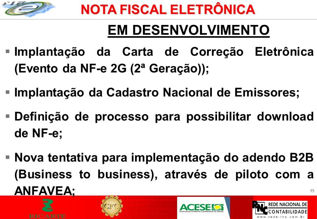 15 EM DESENVOLVIMENTO Implantação da Carta de Correção Eletrônica (Evento da NF-e 2G (2ª Geração)); Implantação da Cadastro Nacional de Emissores; Def