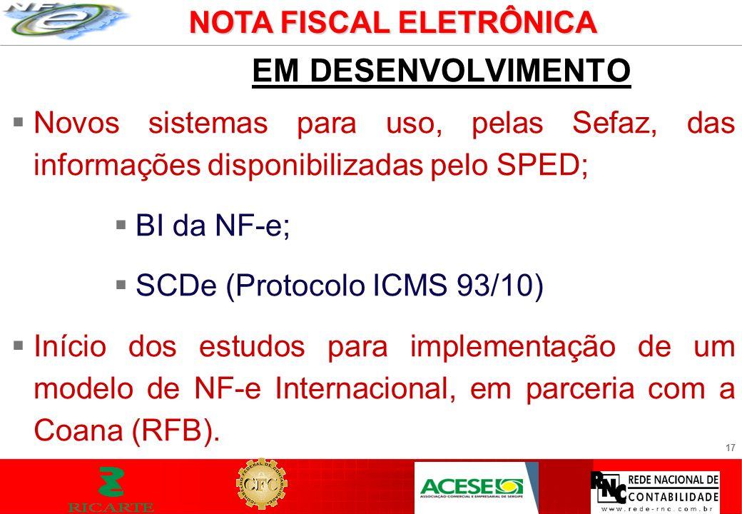 17 EM DESENVOLVIMENTO Novos sistemas para uso, pelas Sefaz, das informações disponibilizadas pelo SPED; BI da NF-e; SCDe (Protocolo ICMS 93/10) Início