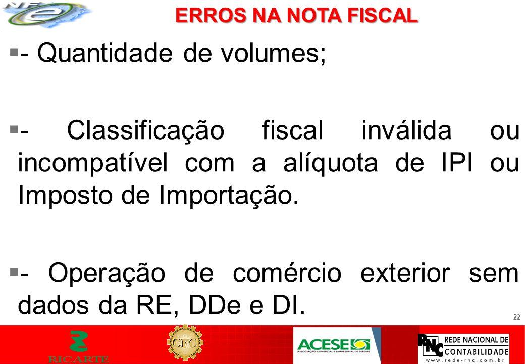 22 - Quantidade de volumes; - Classificação fiscal inválida ou incompatível com a alíquota de IPI ou Imposto de Importação. - Operação de comércio ext