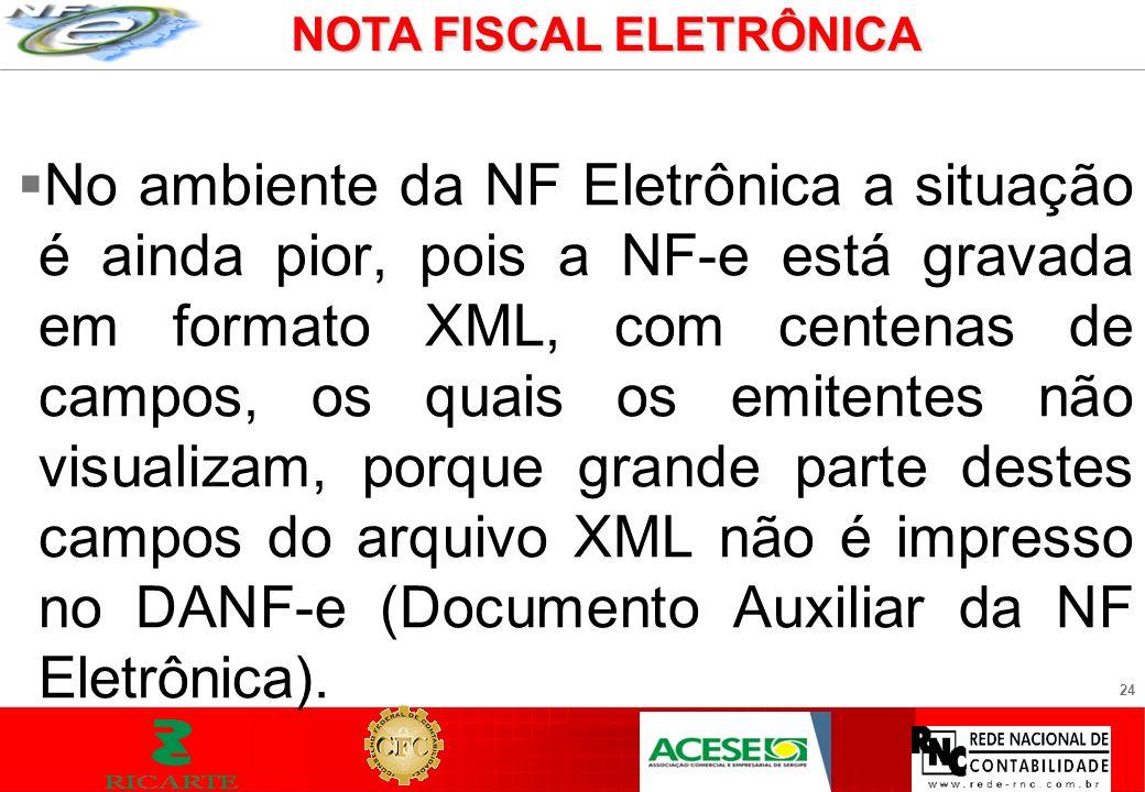 24 No ambiente da NF Eletrônica a situação é ainda pior, pois a NF-e está gravada em formato XML, com centenas de campos, os quais os emitentes não vi