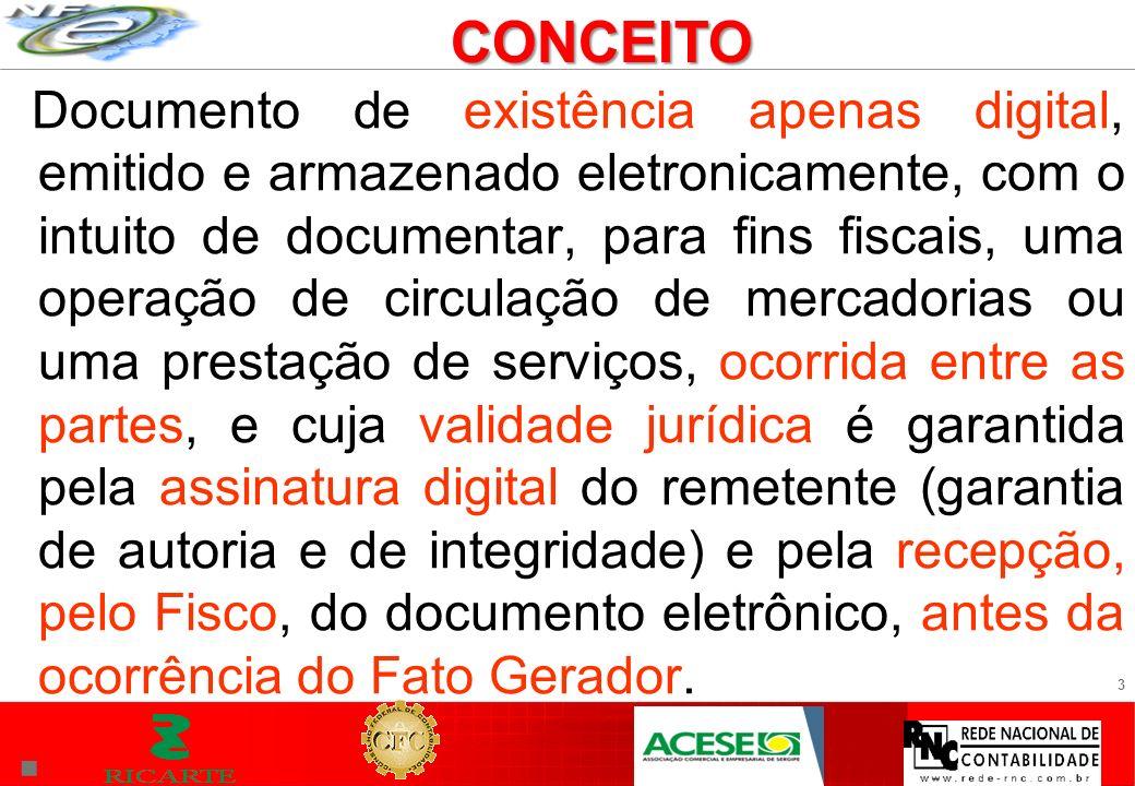 3 Documento de existência apenas digital, emitido e armazenado eletronicamente, com o intuito de documentar, para fins fiscais, uma operação de circul
