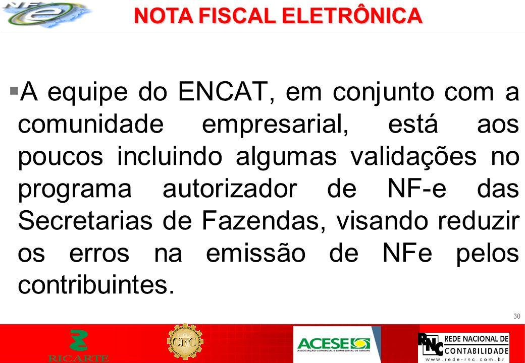 30 A equipe do ENCAT, em conjunto com a comunidade empresarial, está aos poucos incluindo algumas validações no programa autorizador de NF-e das Secre