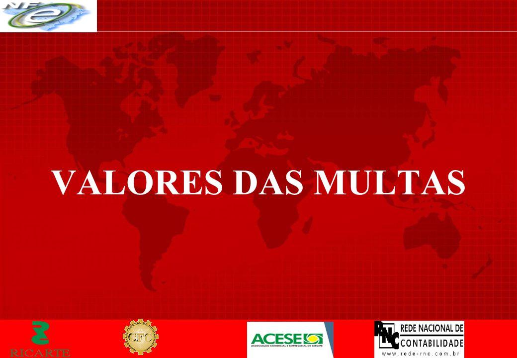 VALORES DAS MULTAS