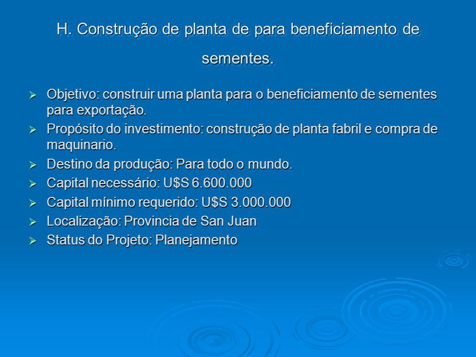 H. Construção de planta de para beneficiamento de sementes. Objetivo: construir uma planta para o beneficiamento de sementes para exportação. Objetivo