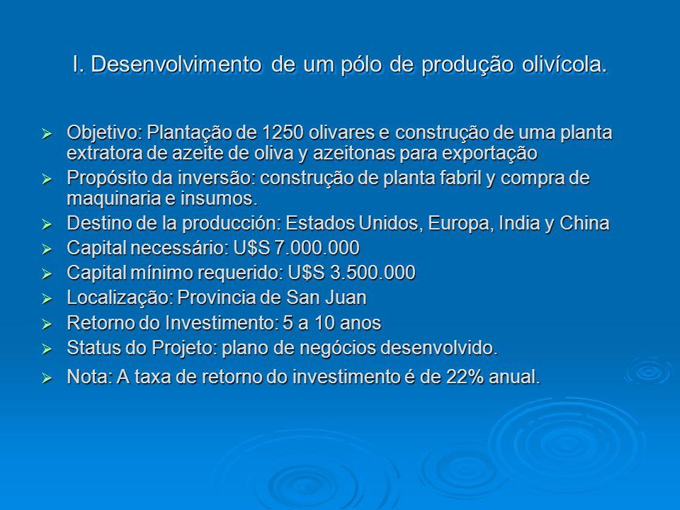 I. Desenvolvimento de um pólo de produção olivícola. Objetivo: Plantação de 1250 olivares e construção de uma planta extratora de azeite de oliva y az