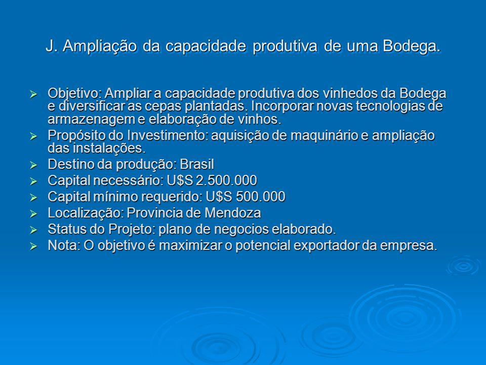 J. Ampliação da capacidade produtiva de uma Bodega. Objetivo: Ampliar a capacidade produtiva dos vinhedos da Bodega e diversificar as cepas plantadas.