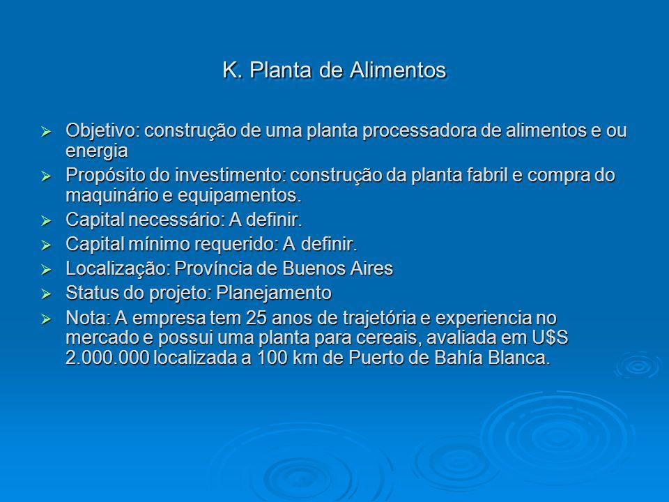 K. Planta de Alimentos Objetivo: construção de uma planta processadora de alimentos e ou energia Objetivo: construção de uma planta processadora de al