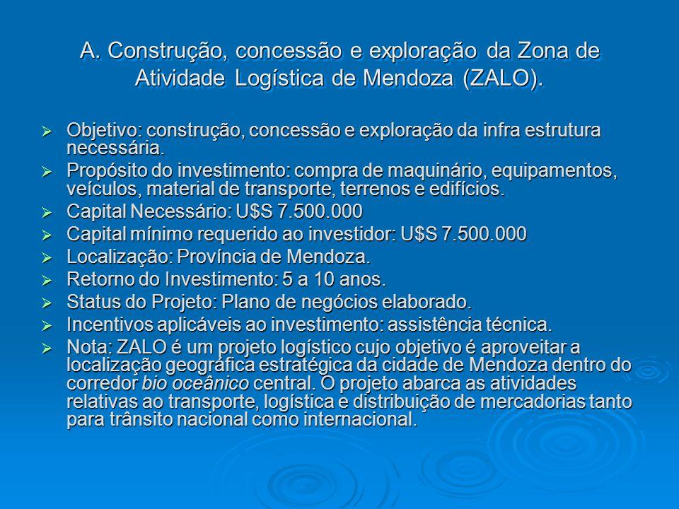A. Construção, concessão e exploração da Zona de Atividade Logística de Mendoza (ZALO). Objetivo: construção, concessão e exploração da infra estrutur