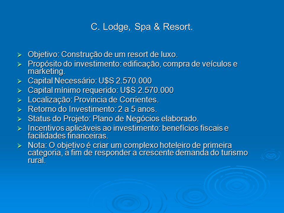 C. Lodge, Spa & Resort. Objetivo: Construção de um resort de luxo. Objetivo: Construção de um resort de luxo. Propósito do investimento: edificação, c