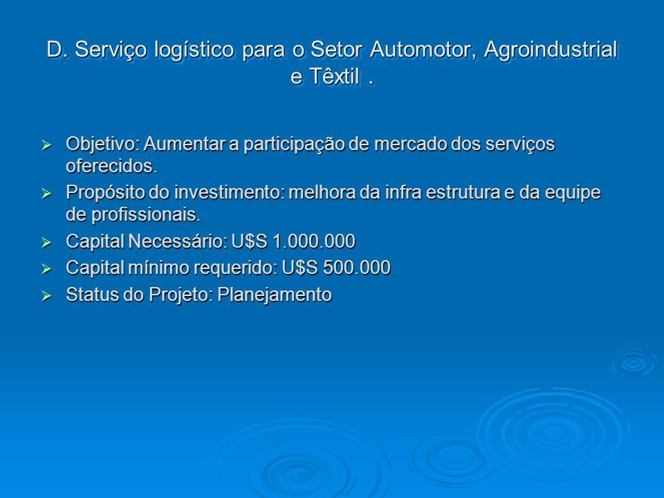 D. Serviço logístico para o Setor Automotor, Agroindustrial e Têxtil. Objetivo: Aumentar a participação de mercado dos serviços oferecidos. Objetivo: