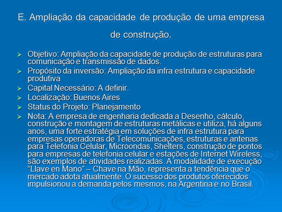 E. Ampliação da capacidade de produção de uma empresa de construção. Objetivo: Ampliação da capacidade de produção de estruturas para comunicação e tr