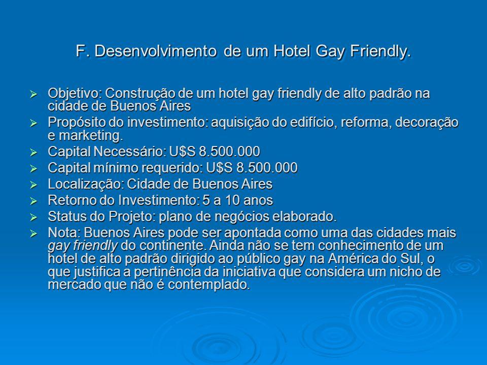 F. Desenvolvimento de um Hotel Gay Friendly. Objetivo: Construção de um hotel gay friendly de alto padrão na cidade de Buenos Aires Objetivo: Construç