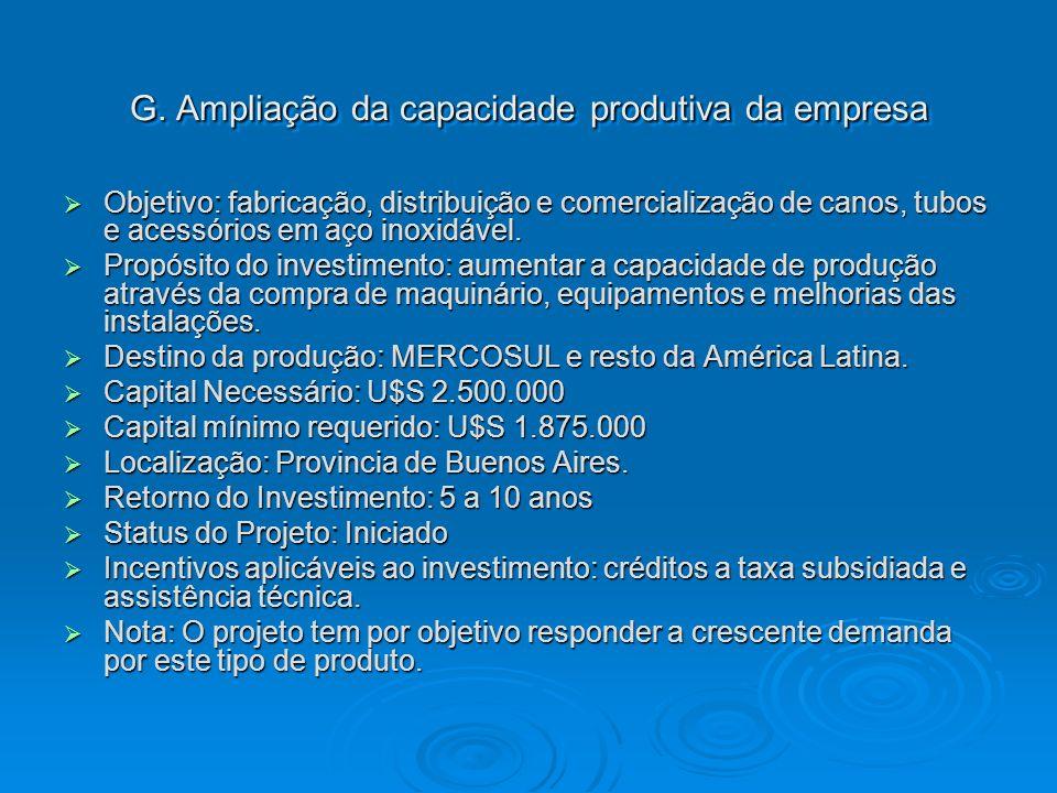 G. Ampliação da capacidade produtiva da empresa Objetivo: fabricação, distribuição e comercialização de canos, tubos e acessórios em aço inoxidável. O