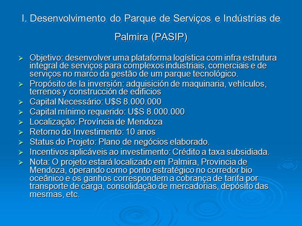 I. Desenvolvimento do Parque de Serviços e Indústrias de Palmira (PASIP) Objetivo: desenvolver uma plataforma logística com infra estrutura integral d