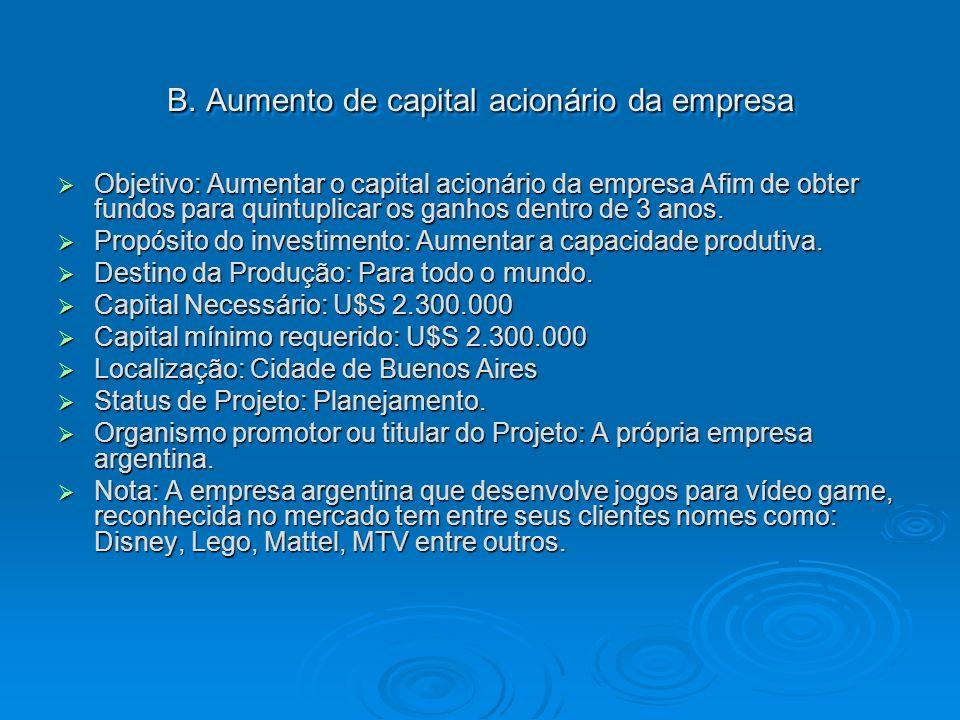 B. Aumento de capital acionário da empresa Objetivo: Aumentar o capital acionário da empresa Afim de obter fundos para quintuplicar os ganhos dentro d