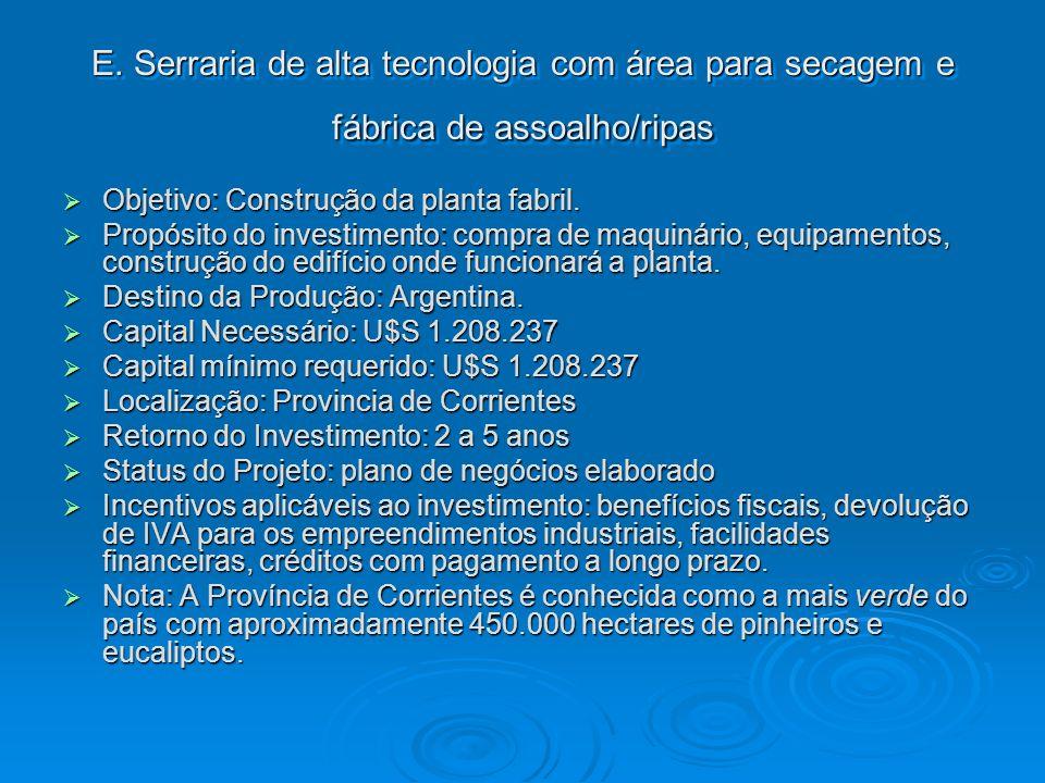 E. Serraria de alta tecnologia com área para secagem e fábrica de assoalho/ripas Objetivo: Construção da planta fabril. Objetivo: Construção da planta