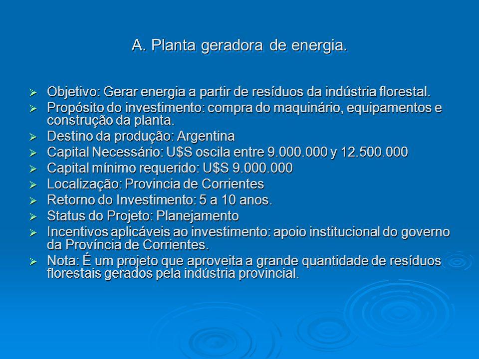 A. Planta geradora de energia. Objetivo: Gerar energia a partir de resíduos da indústria florestal. Objetivo: Gerar energia a partir de resíduos da in