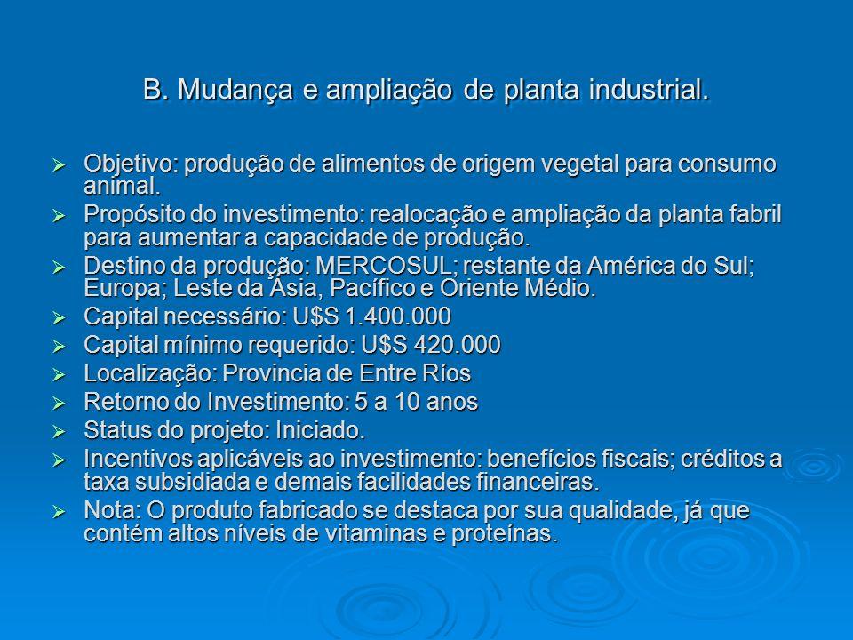 B. Mudança e ampliação de planta industrial. Objetivo: produção de alimentos de origem vegetal para consumo animal. Objetivo: produção de alimentos de