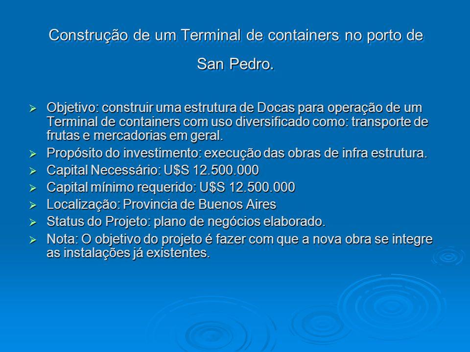 Construção de um Terminal de containers no porto de San Pedro. Objetivo: construir uma estrutura de Docas para operação de um Terminal de containers c