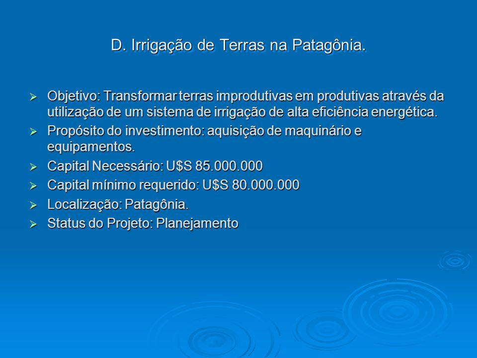 D. Irrigação de Terras na Patagônia. Objetivo: Transformar terras improdutivas em produtivas através da utilização de um sistema de irrigação de alta