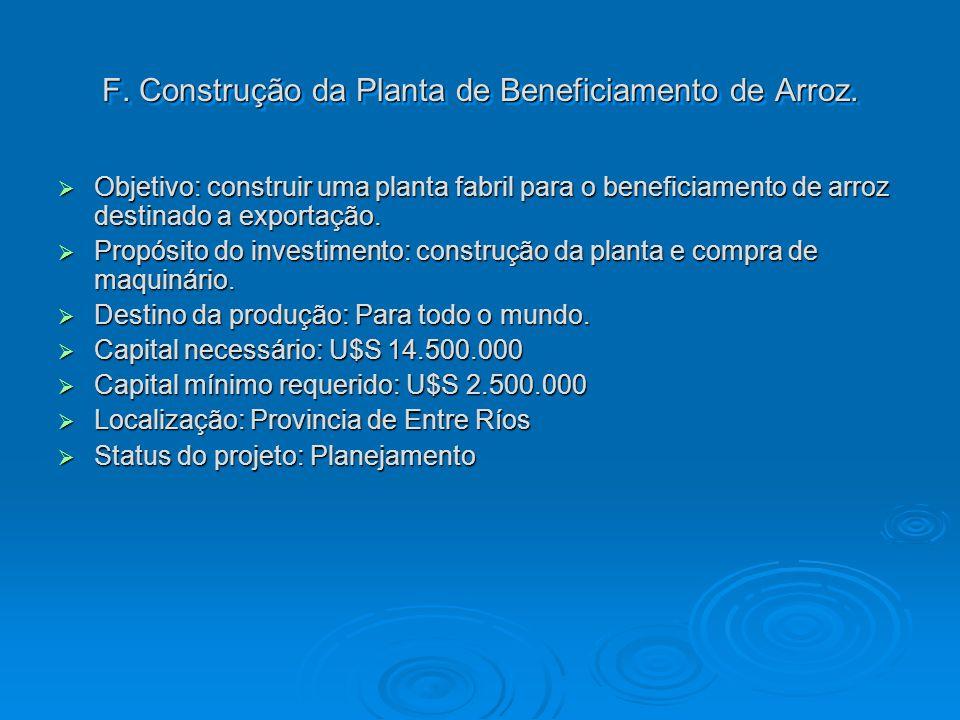 F. Construção da Planta de Beneficiamento de Arroz. Objetivo: construir uma planta fabril para o beneficiamento de arroz destinado a exportação. Objet