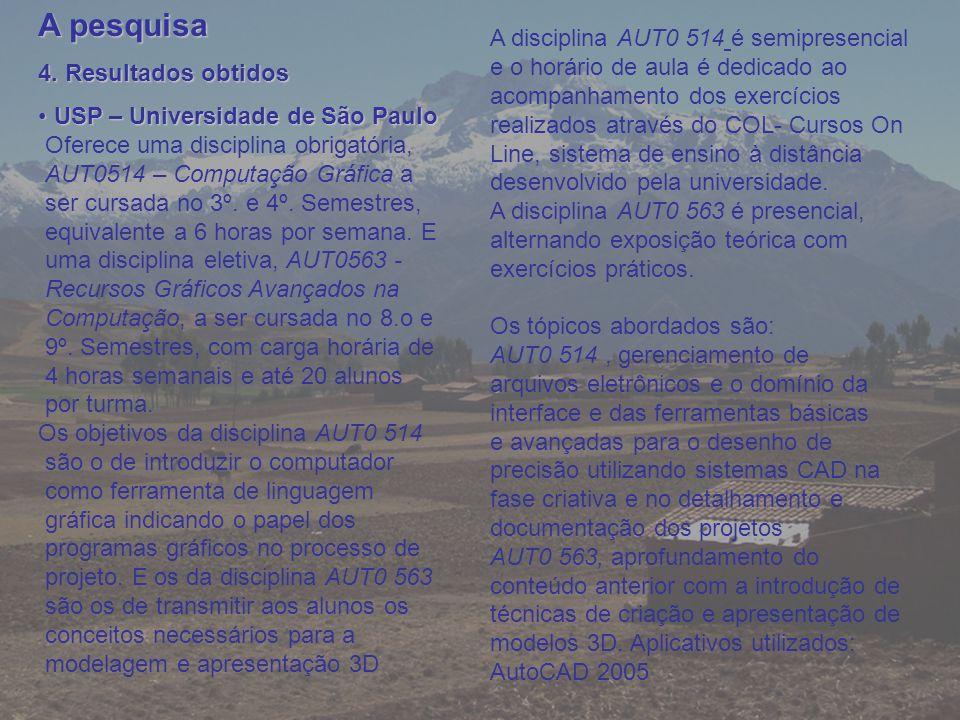 A pesquisa 4. Resultados obtidos USP – Universidade de São Paulo USP – Universidade de São Paulo Oferece uma disciplina obrigatória, AUT0514 – Computa