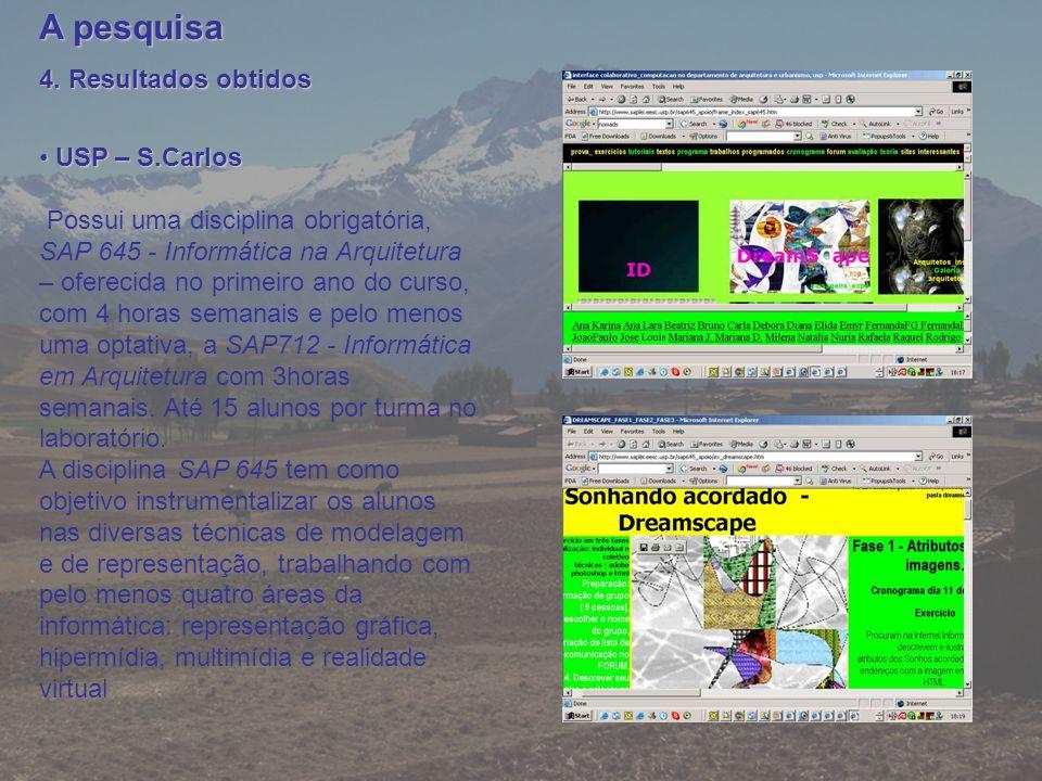 A pesquisa 4. Resultados obtidos USP – S.Carlos USP – S.Carlos Possui uma disciplina obrigatória, SAP 645 - Informática na Arquitetura – oferecida no