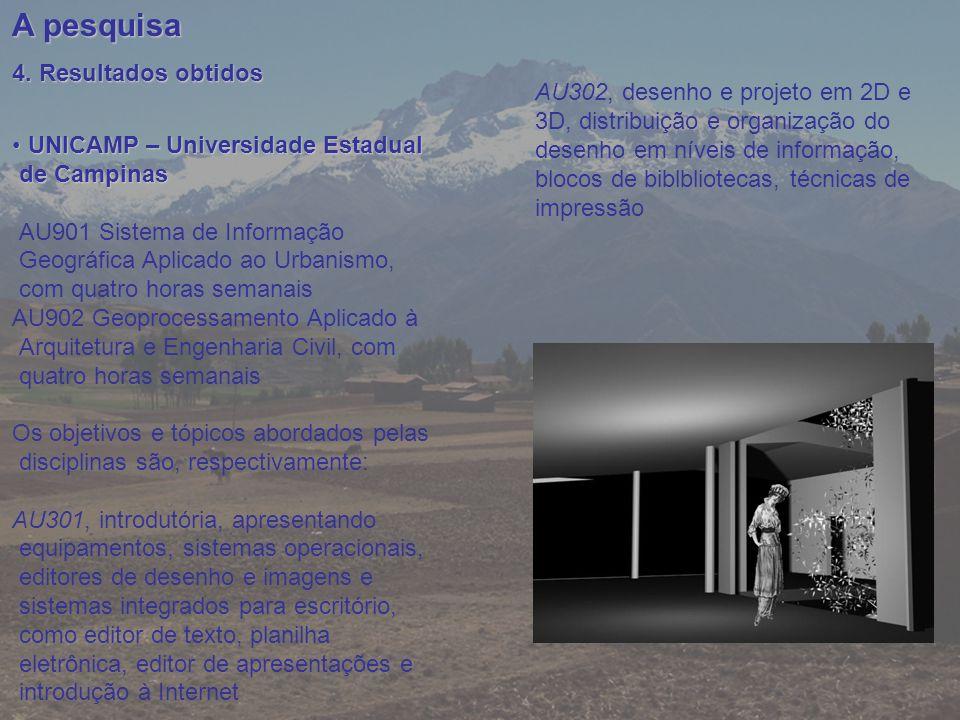 A pesquisa 4. Resultados obtidos UNICAMP – Universidade Estadual de Campinas UNICAMP – Universidade Estadual de Campinas AU901 Sistema de Informação G