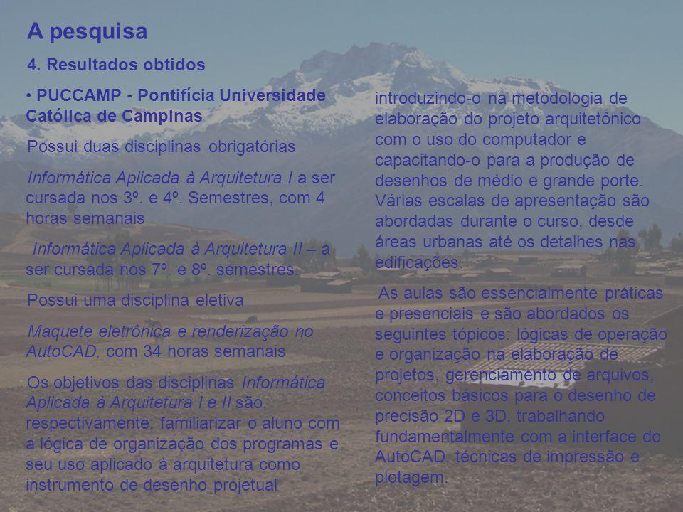 A pesquisa 4. Resultados obtidos PUCCAMP - Pontifícia Universidade Católica de Campinas Possui duas disciplinas obrigatórias Informática Aplicada à Ar