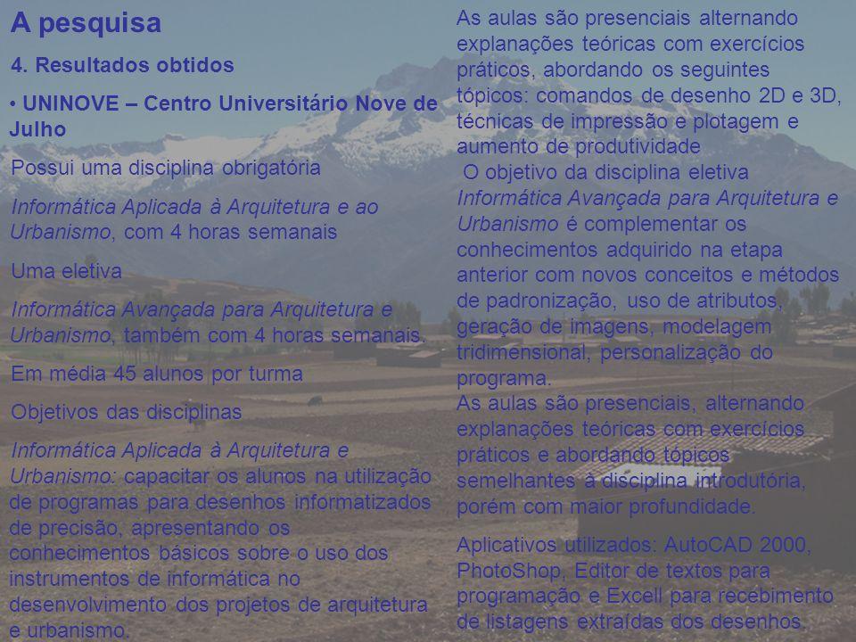 A pesquisa 4. Resultados obtidos UNINOVE – Centro Universitário Nove de Julho Possui uma disciplina obrigatória Informática Aplicada à Arquitetura e a