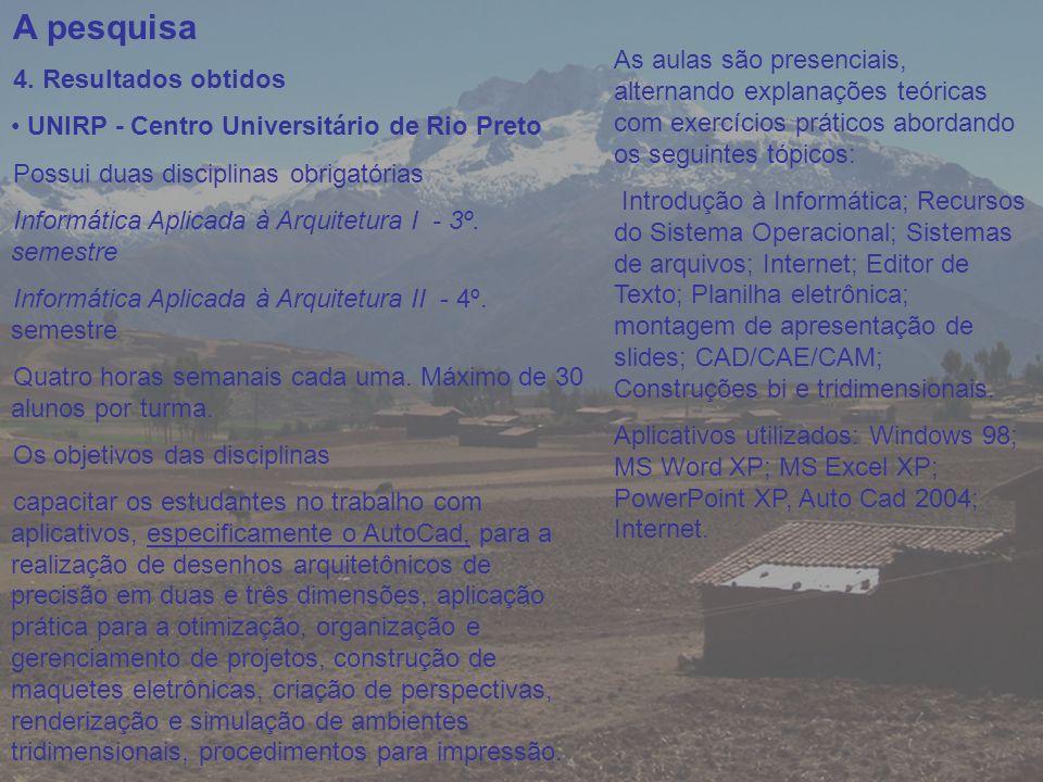 A pesquisa 4. Resultados obtidos UNIRP - Centro Universitário de Rio Preto Possui duas disciplinas obrigatórias Informática Aplicada à Arquitetura I -