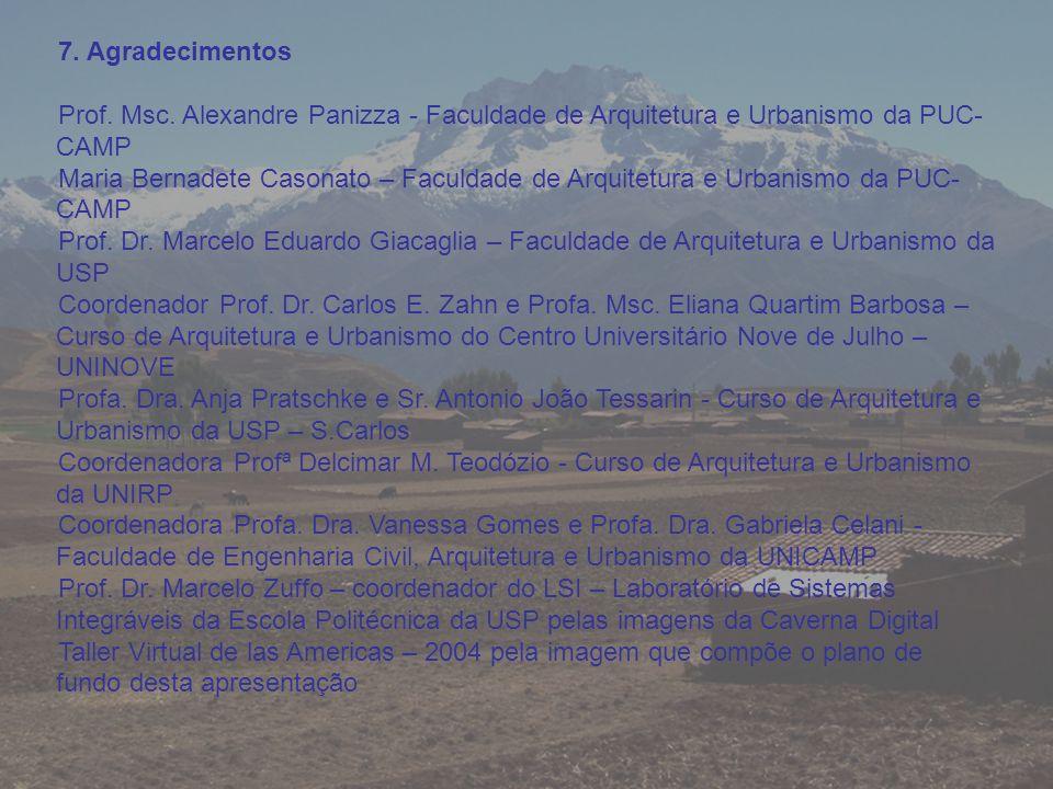 7. Agradecimentos Prof. Msc. Alexandre Panizza - Faculdade de Arquitetura e Urbanismo da PUC- CAMP Maria Bernadete Casonato – Faculdade de Arquitetura
