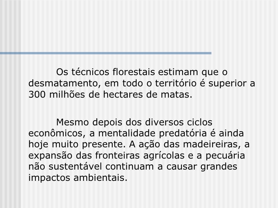 Os técnicos florestais estimam que o desmatamento, em todo o território é superior a 300 milhões de hectares de matas. Mesmo depois dos diversos ciclo